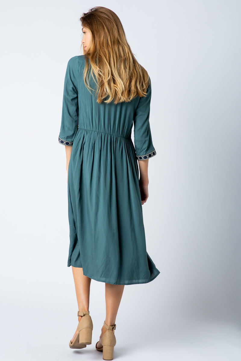 Analise 3/4 Sleeve Midi Dress With Trim Detail Siin Bees