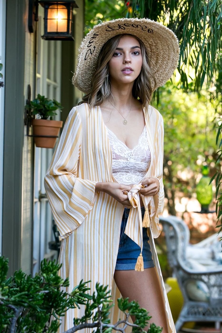 Stripe Printed Bell Sleeve Front Waist Tie With Tassel Kimono Siin Bees