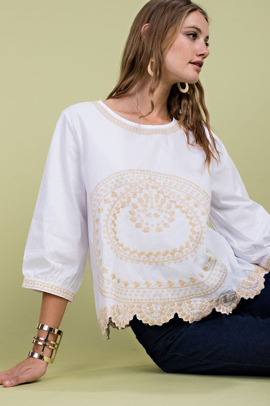Scallop Hem Detail Embroidered 3/4 Sleeve Woven Top Siin Bees