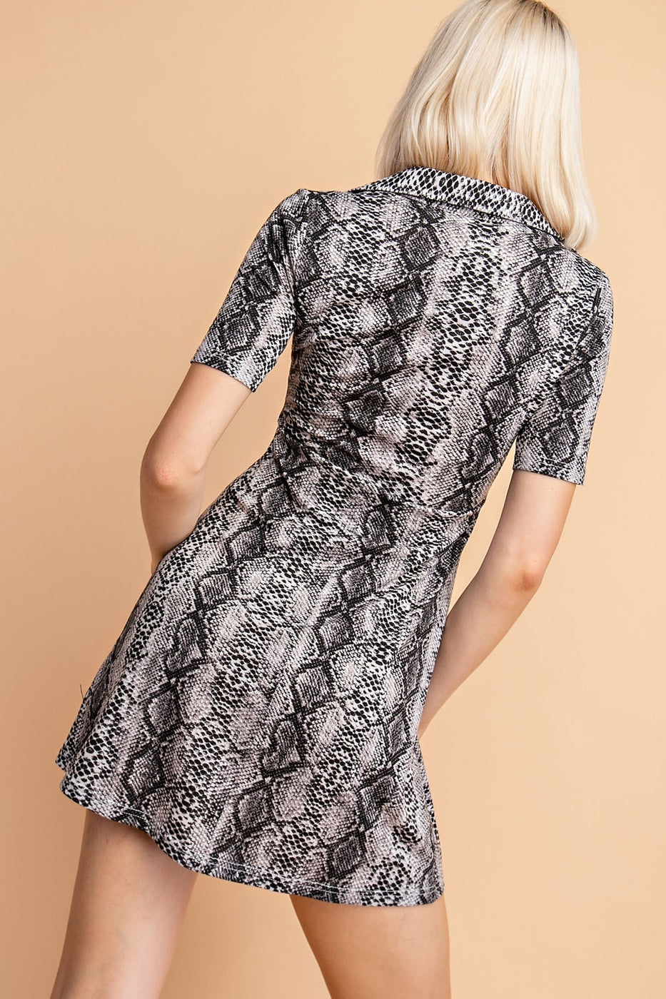 Snake Print Collared Dress With Deep v Neck Siin Bees