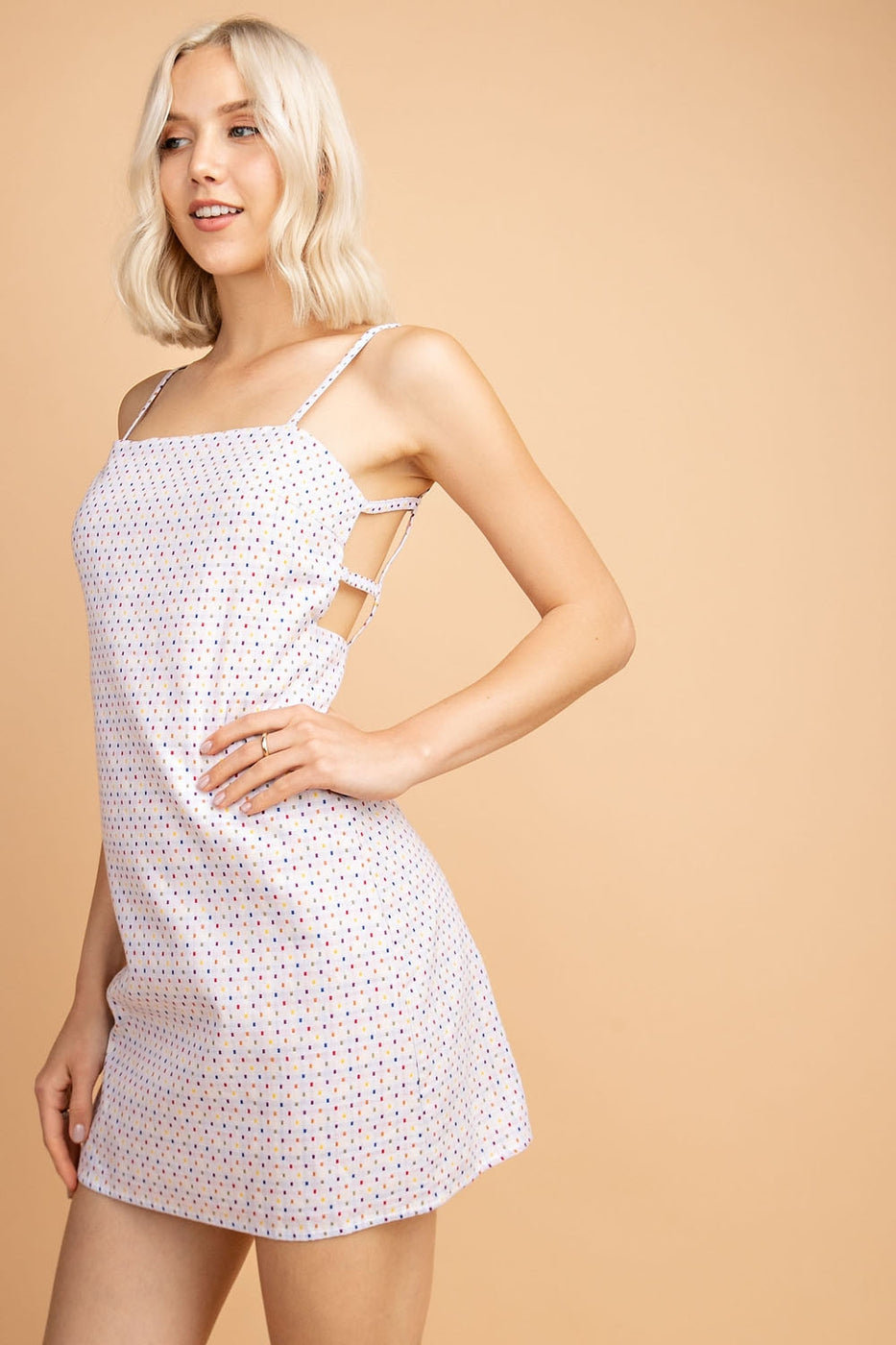 Mini Dress With Open Back Gingham In White-Multi Siin Bees