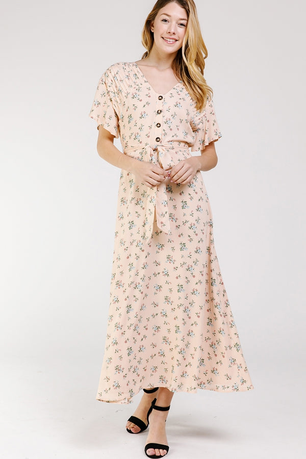 Eliana Maxi Dress Drop Shoulder Floral In Peach Siin Bees