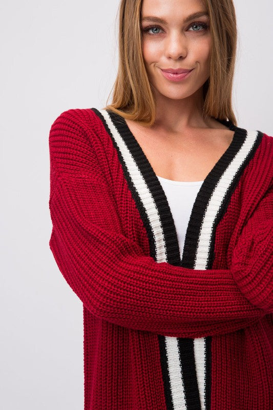 Knit Cardigan With Black & White Striped Edging Siin Bees
