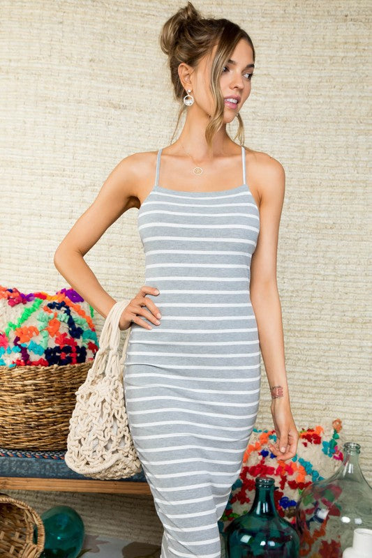 Lace-Up Back Adjustable Cami Straps Stripe Print Knit Mid Dress Siin Bees