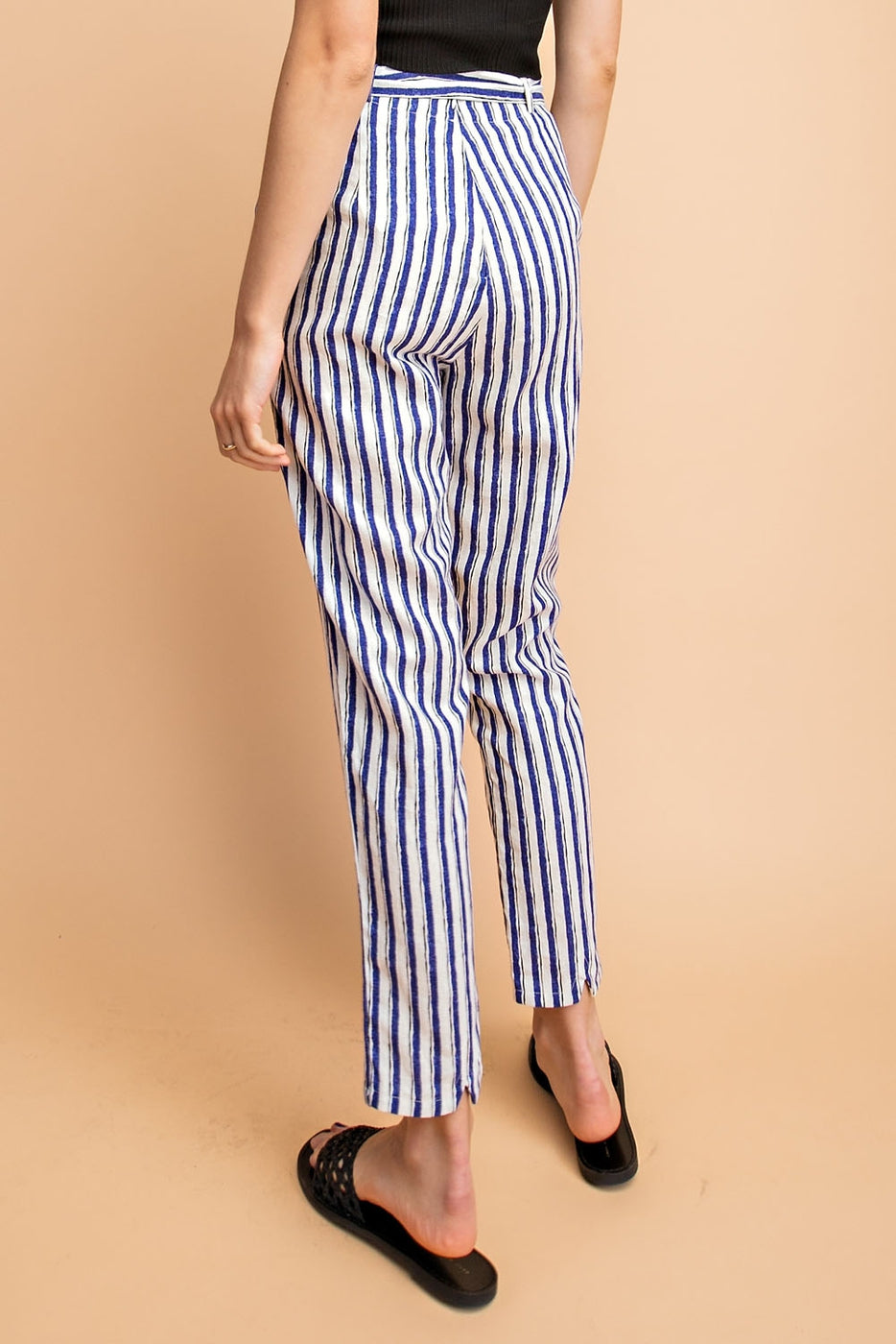 High Waisted Linen Striped Pant with Belt Siin Bees