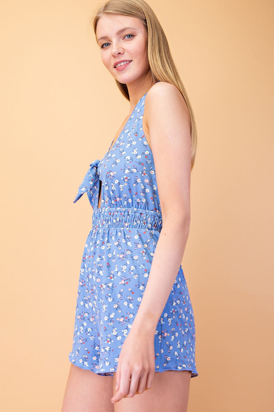 Printed Halter Neck Romper With Cinched Waist In Blue Siin Bees