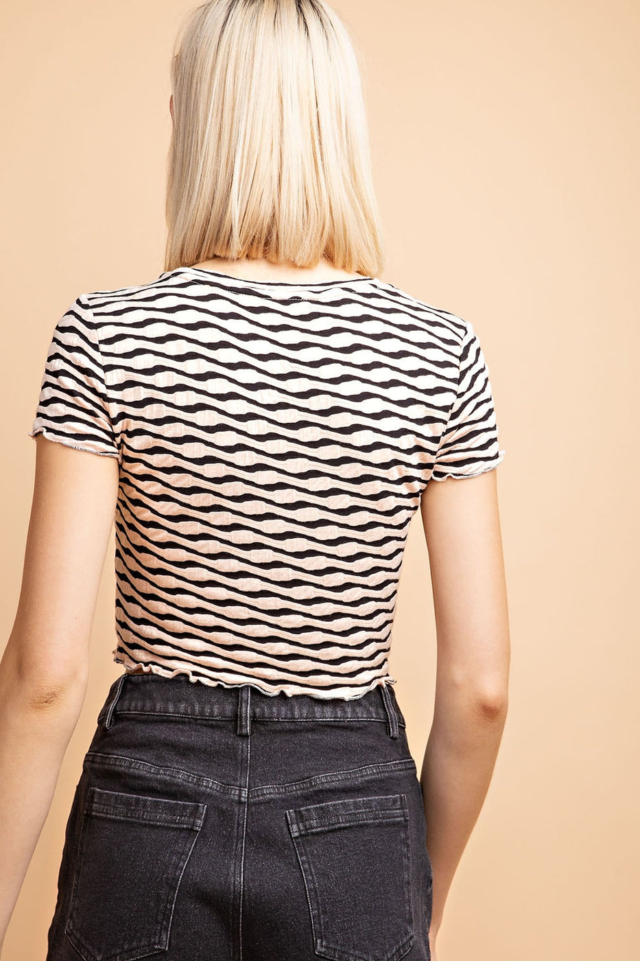 Zebra Texture Basic Knit Half Sleeve Top In Blush-Black Siin Bees
