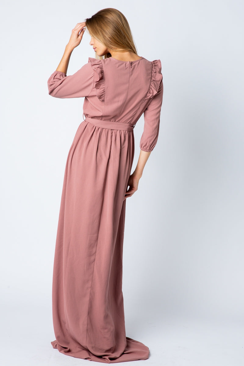 Diana Maxi Dress With Ruffle Detail In Mauve Siin Bees