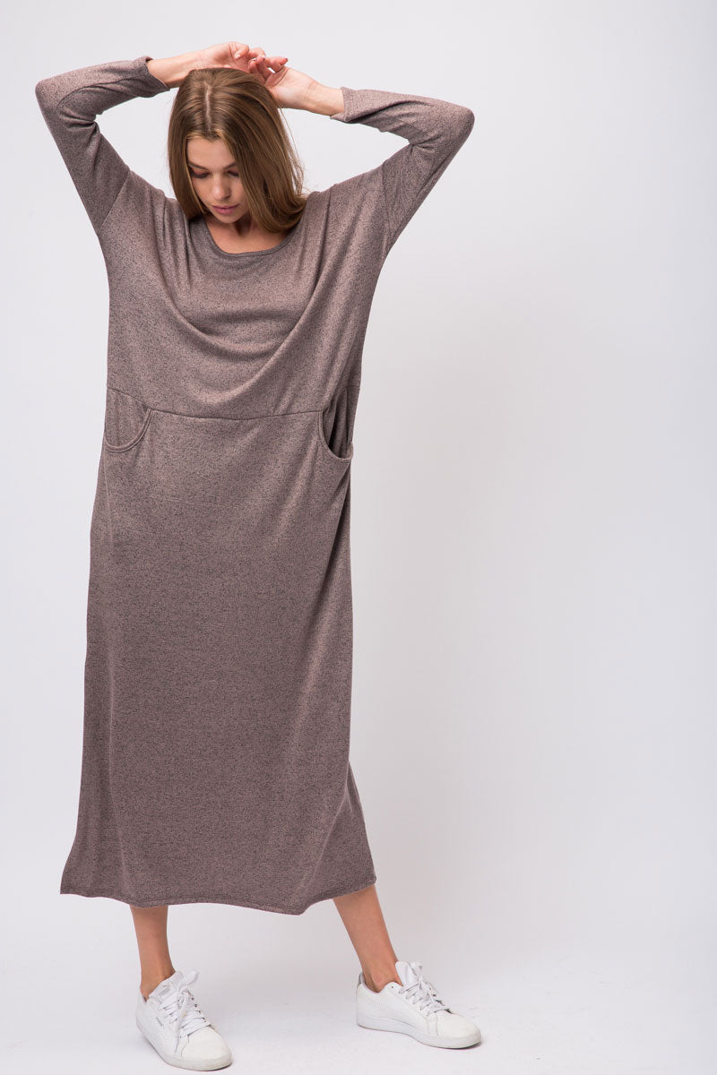 Coffee Hacci Knit Maxi Long Sleeve Dress With Pockets On Either Side Siin Bees