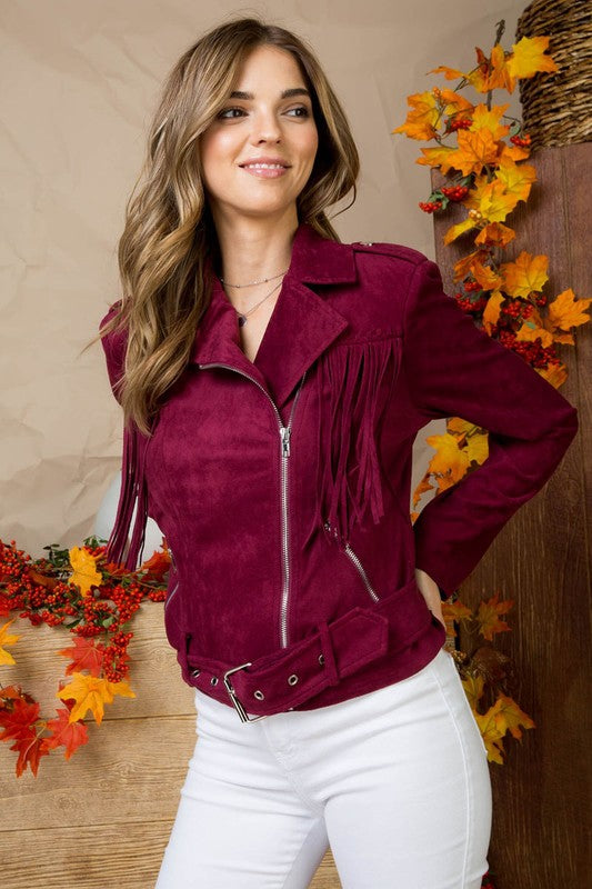 Belt Accent Fringe Detail Front Faux Suede Biker Casual Jacket With Zipper Siin Bees