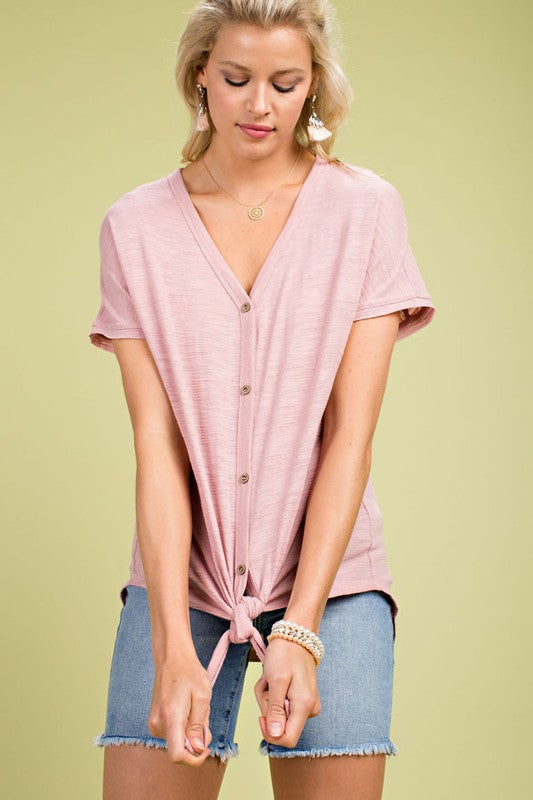 Mauve Half Sleeve Knit Top With Button Close Tie Front Detail Siin Bees