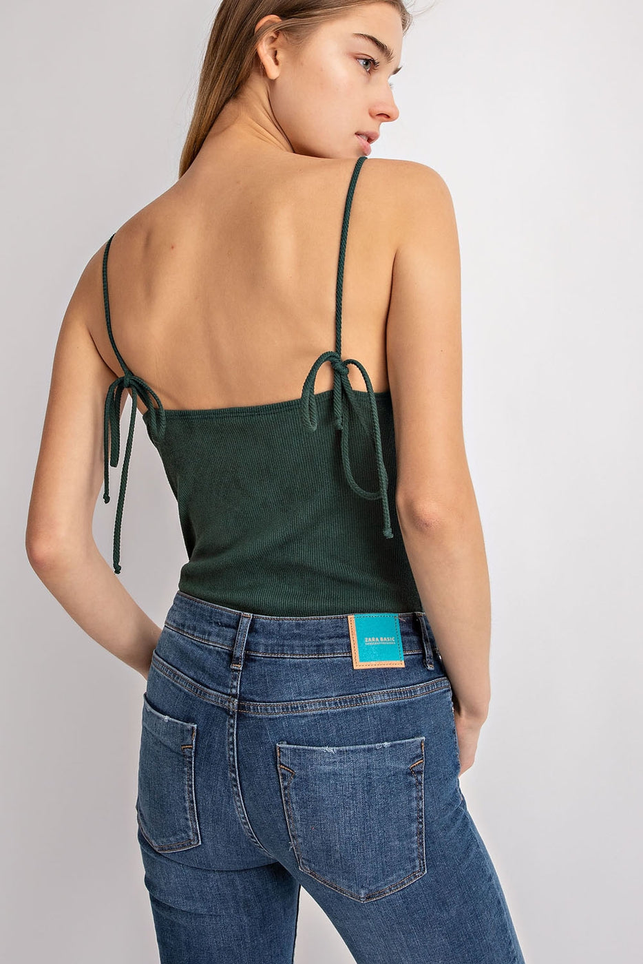 Spaghetti Strap Suede Bodysuit In Green Siin Bees