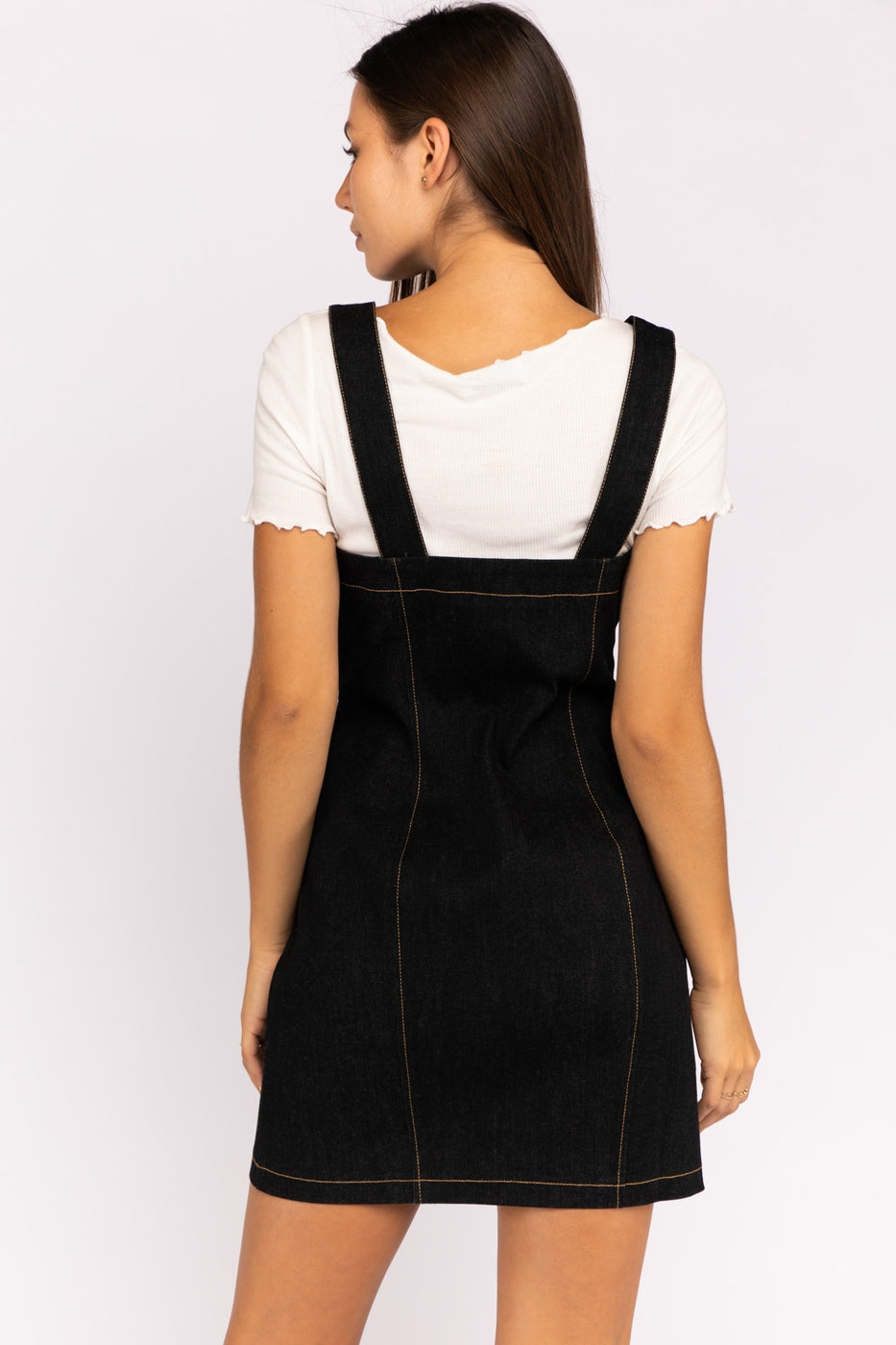Layla Overall Inspired Stretch With Button-Down Denim Mini Dress In Black Siin Bees