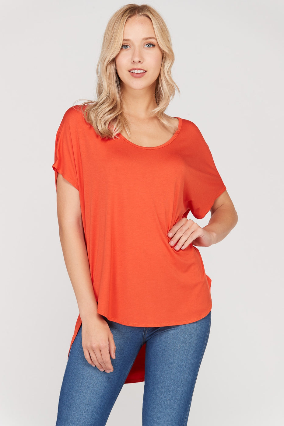 Burnt Orange Short Sleeve T-Shirt Loose Fit With Round Neck Siin Bees