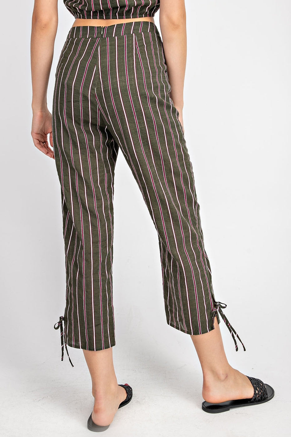 Striped Trousers With Hem Tie Siin Bees