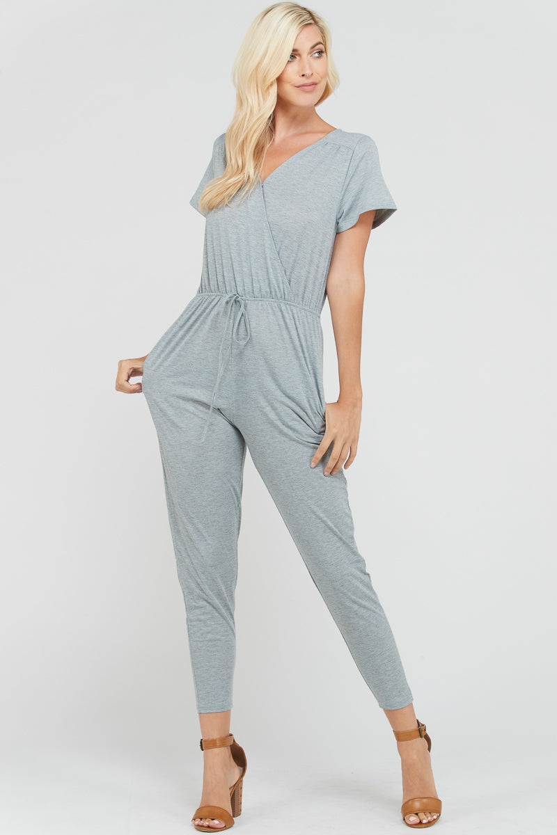 Charlie Short Sleeve Jersey Jumpsuit With Front Pocket Siin Bees