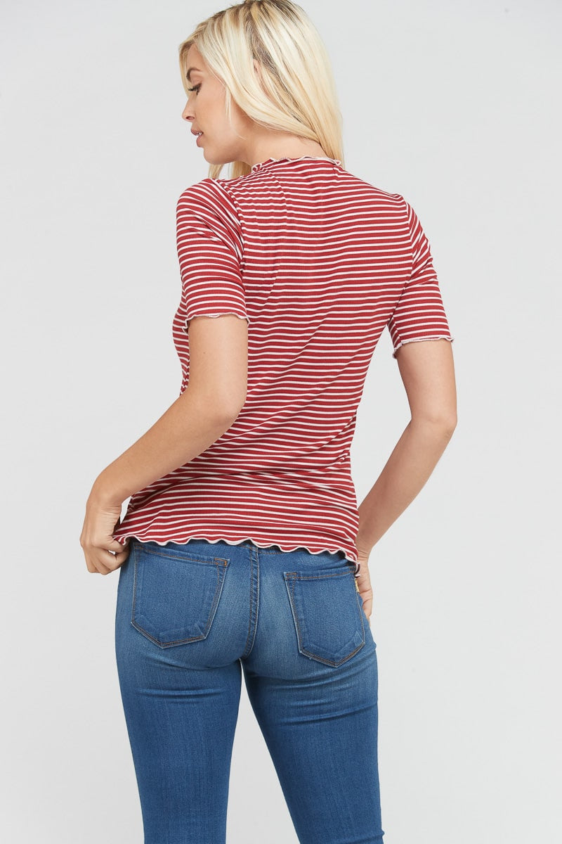 Short Sleeve Mock Neck Top Knit Stripe In Rust Siin Bees