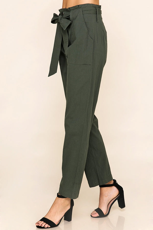 Fashion Stretch Knit Trousers In Olive Siin Bees
