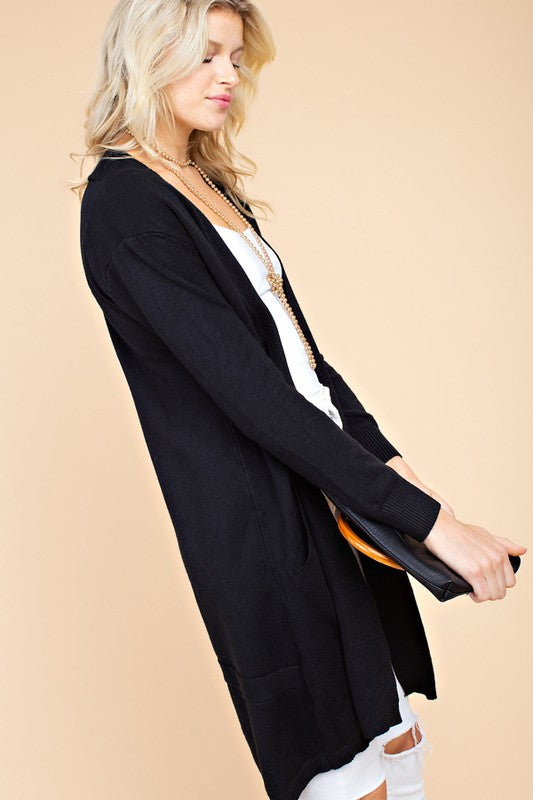 Solid Long Sleeve Open Front Knit Sweater Cardigan With Pocket Detail Siin Bees