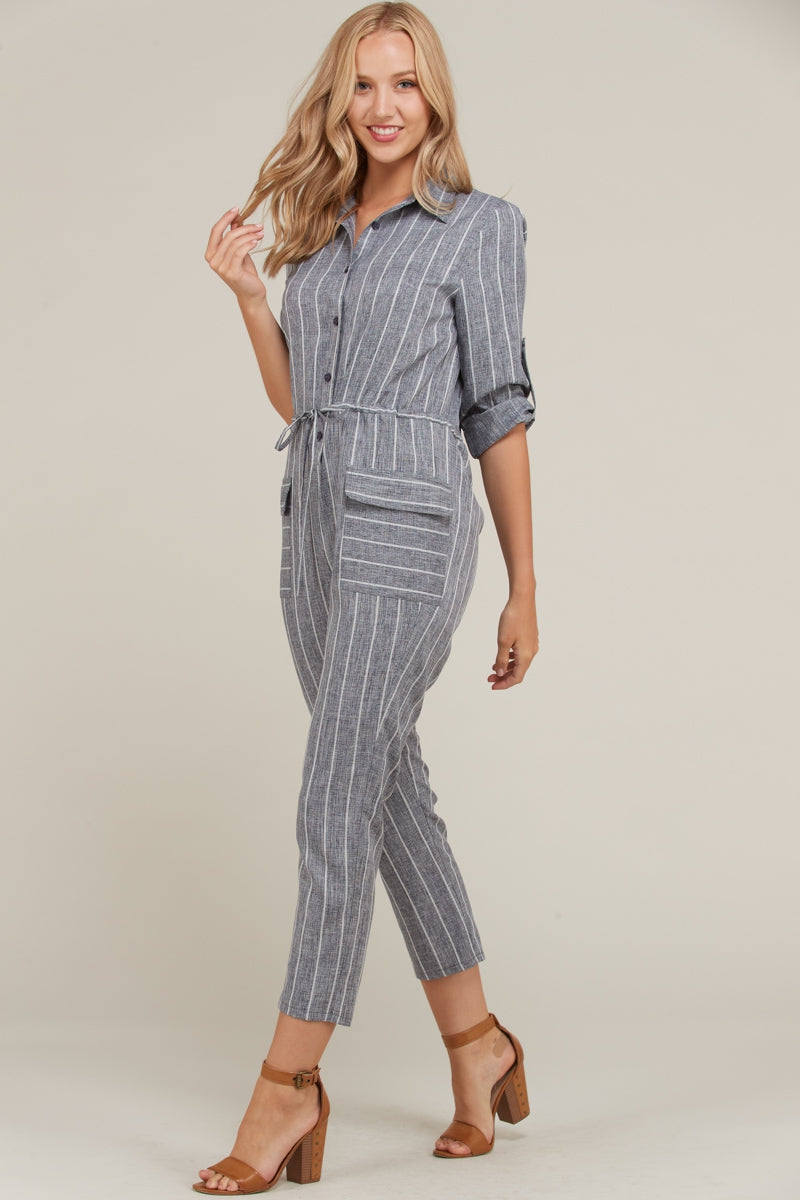 Madelyn Jumpsuit Stripe Button Down With Pockets Siin Bees