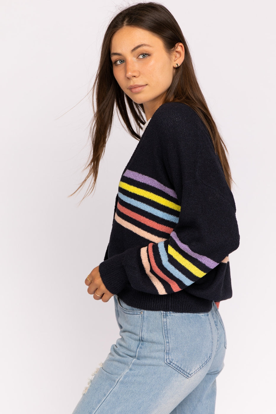 Long Sleeve Knit Cardigan With Stripes And Distressed Hem In Navy Siin Bees