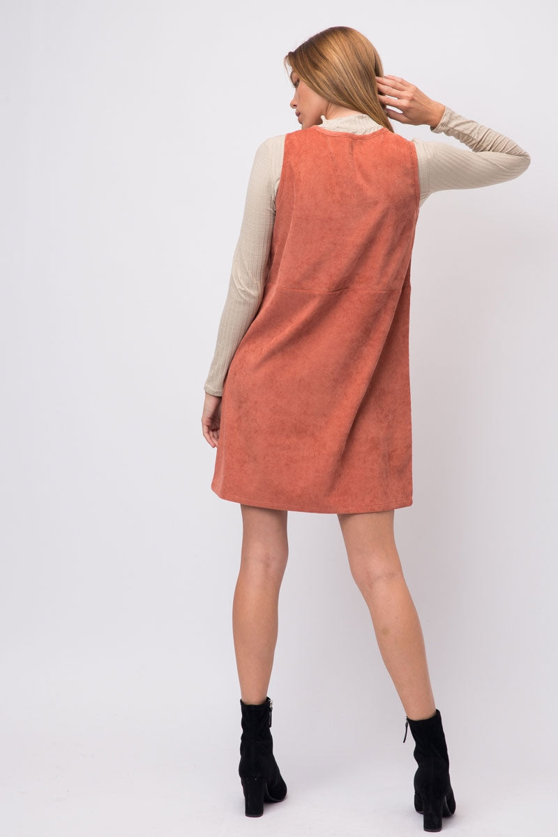 Ginger Coral Corduroy Open Shoulder Dress With 2 Front Pockets Siin Bees