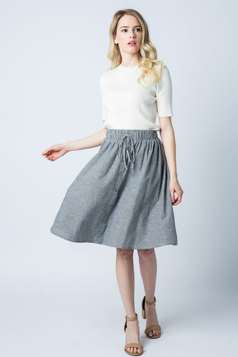 Black Stripe Midi Skirt With Waist Tie Siin Bees