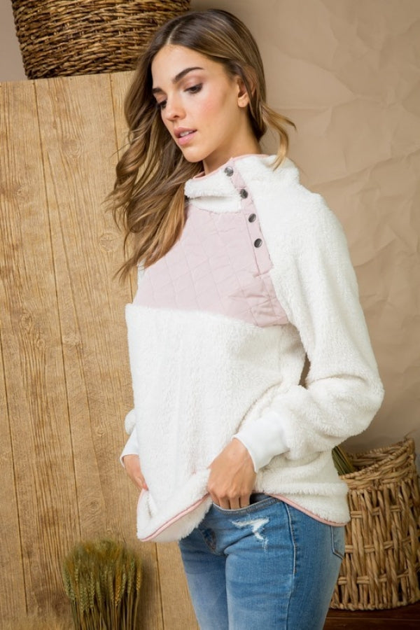 Ivory Color Block Fuzzy High Neck Button Detail Pullover Siin Bees