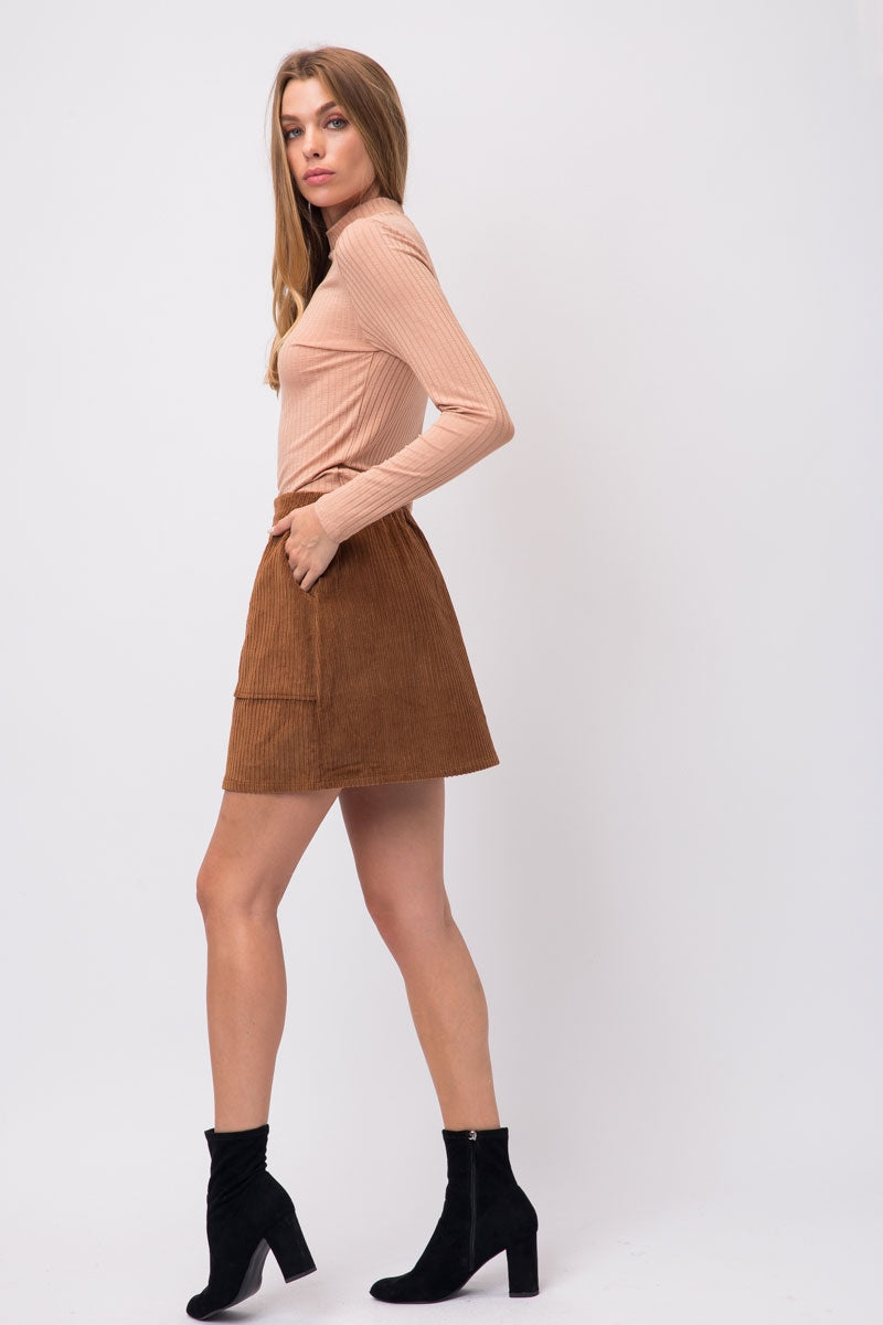 Classic Brown Corduroy Mini Skirt With Elastic Waist Siin Bees