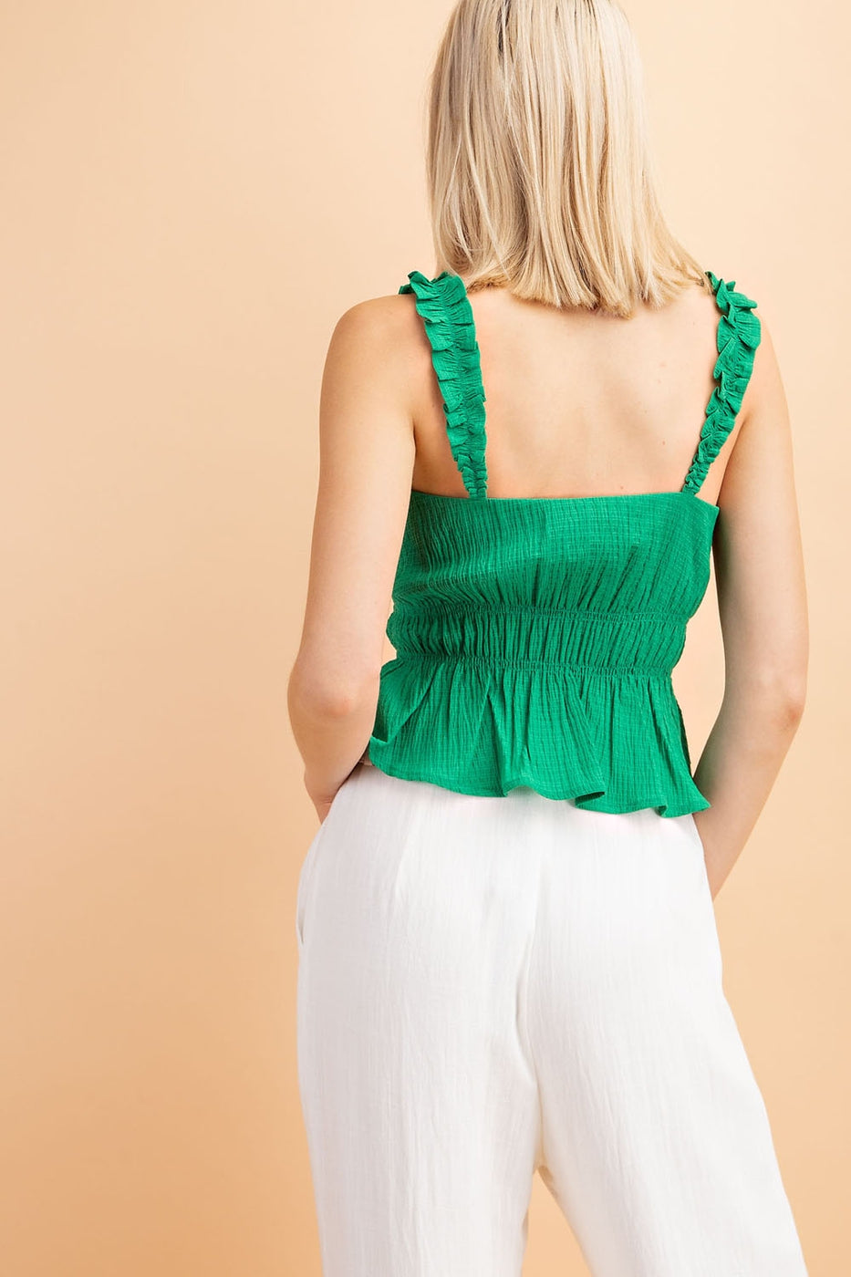 Woven Top With Elastic Waist - Siin Bees