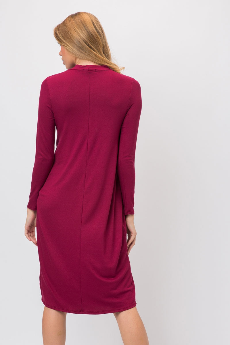 Burgundy Knit Span Shirt Dress With Tie And Split Overlap Siin Bees