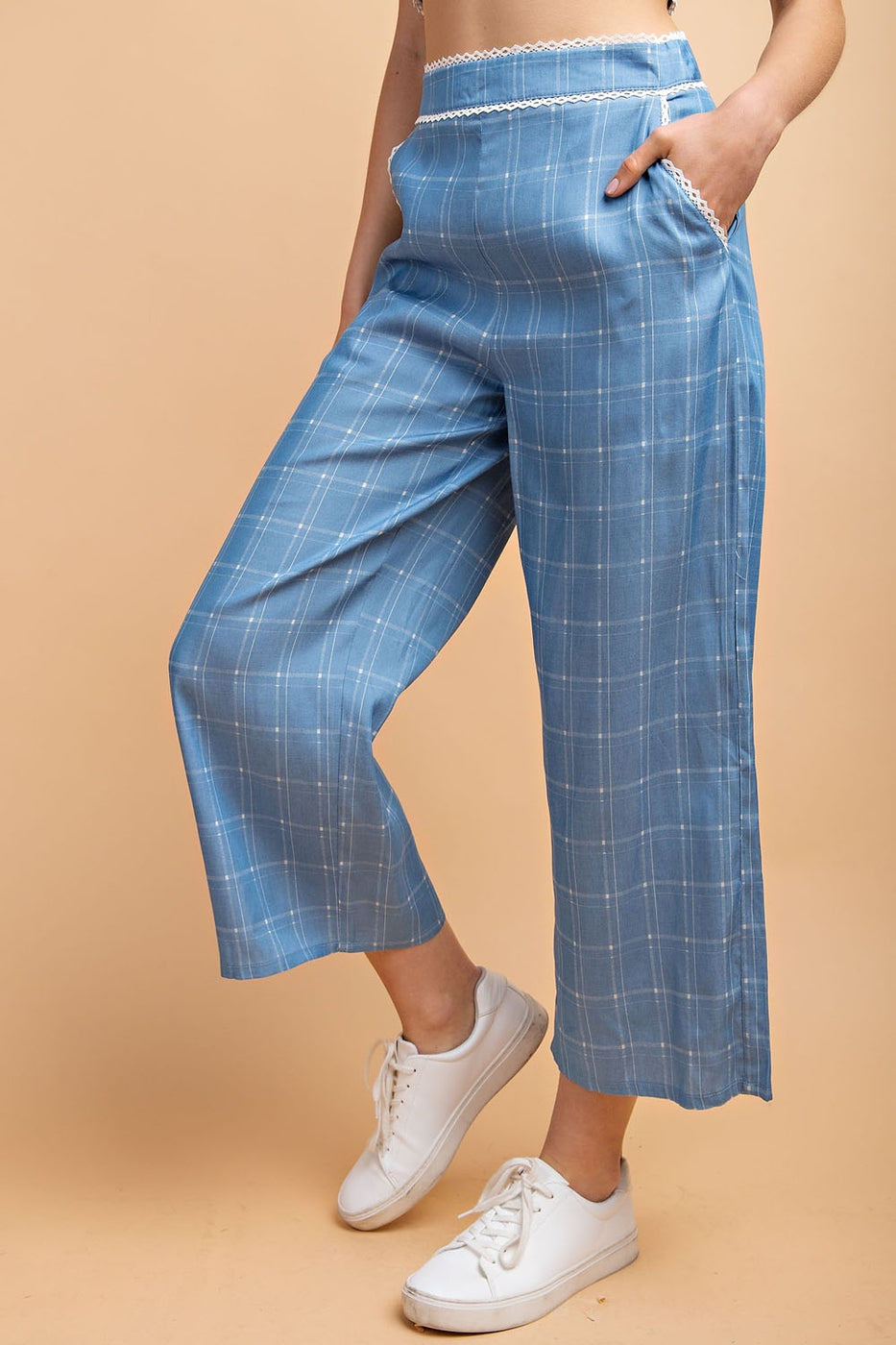 Grid Print Wide Leg Pant In Denim-Checked - Siin Bees