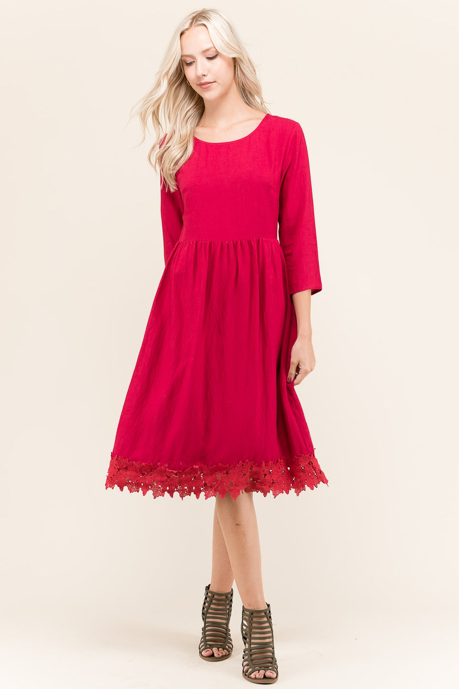 Eliana 3/4 Sleeves Solid Lace Trim Midi Dress Siin Bees