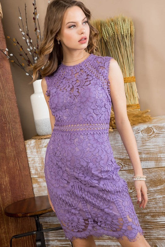 Stella Lilac Crochet lace Dress Siin Bees