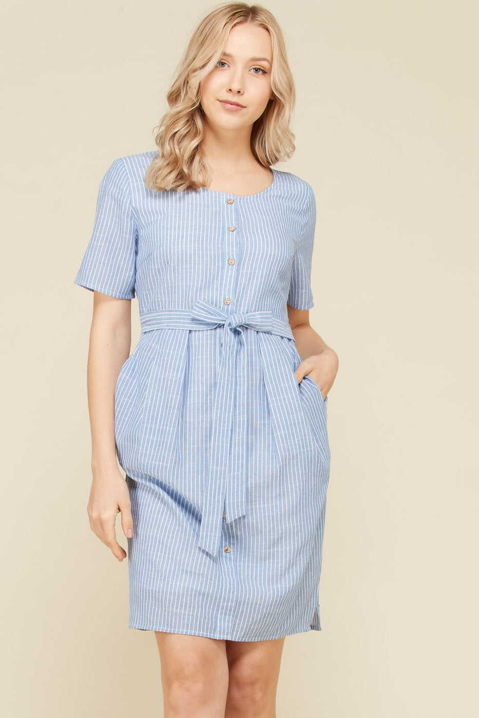 Gia Short Sleeve Midi Dress Stripe Waist Tie In Blue Siin Bees