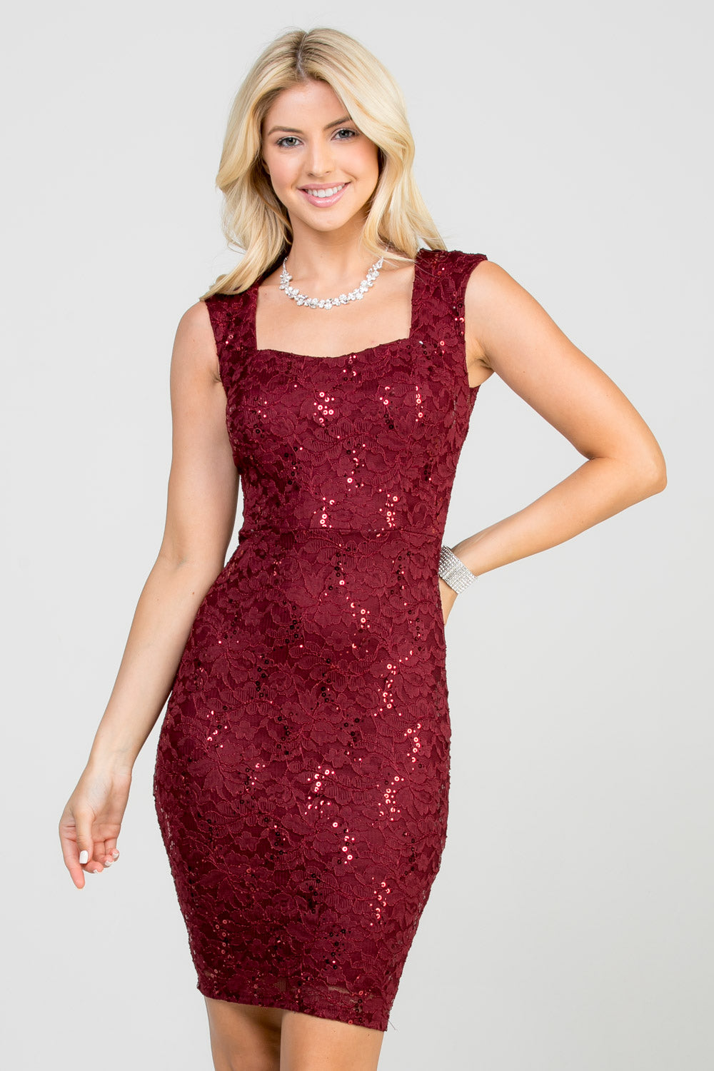 Sequin Lace Sleeveless Bodycon Dress Siin Bees