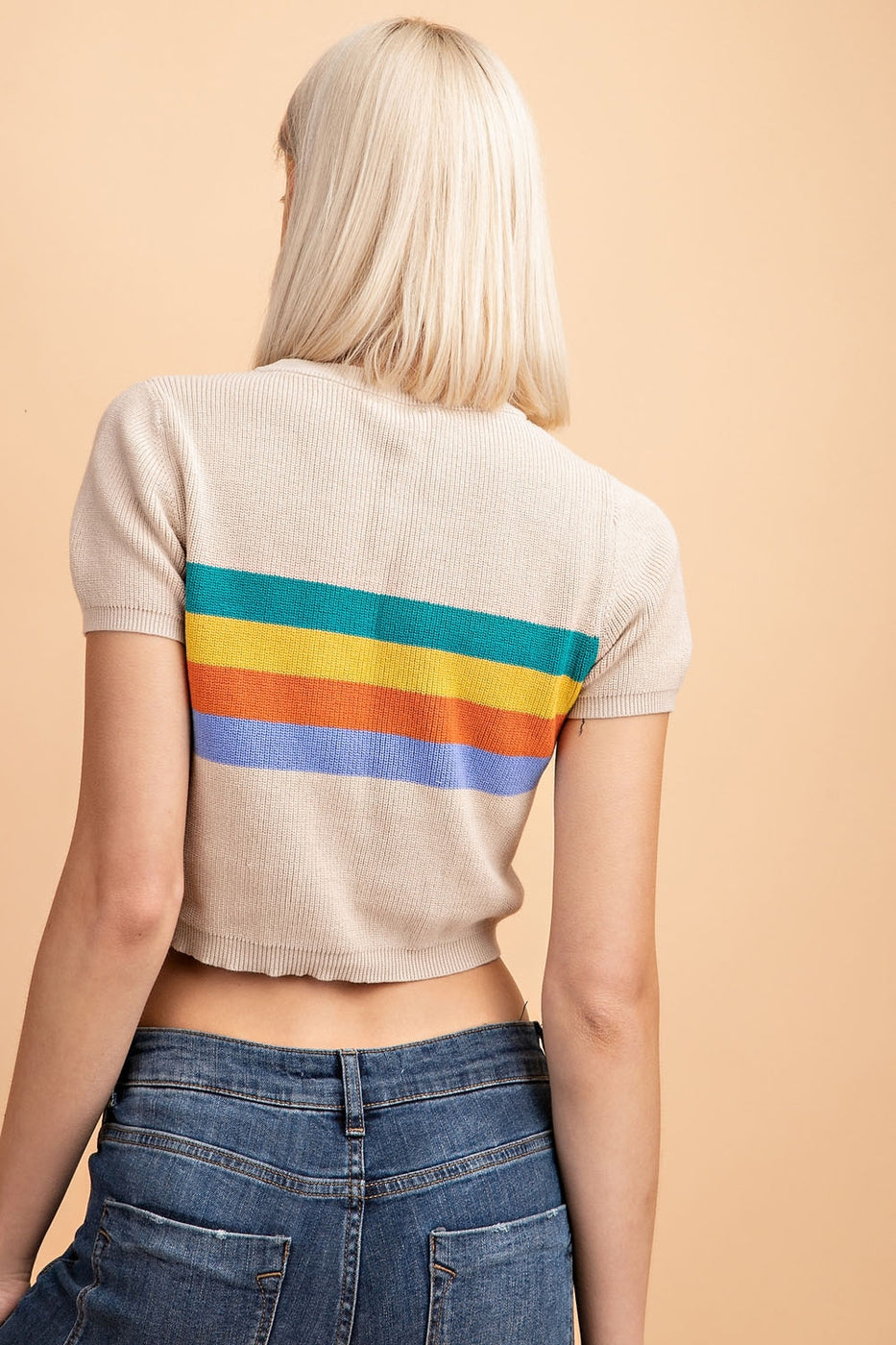 Short Sleeve Colorblock Sweater Top Siin Bees