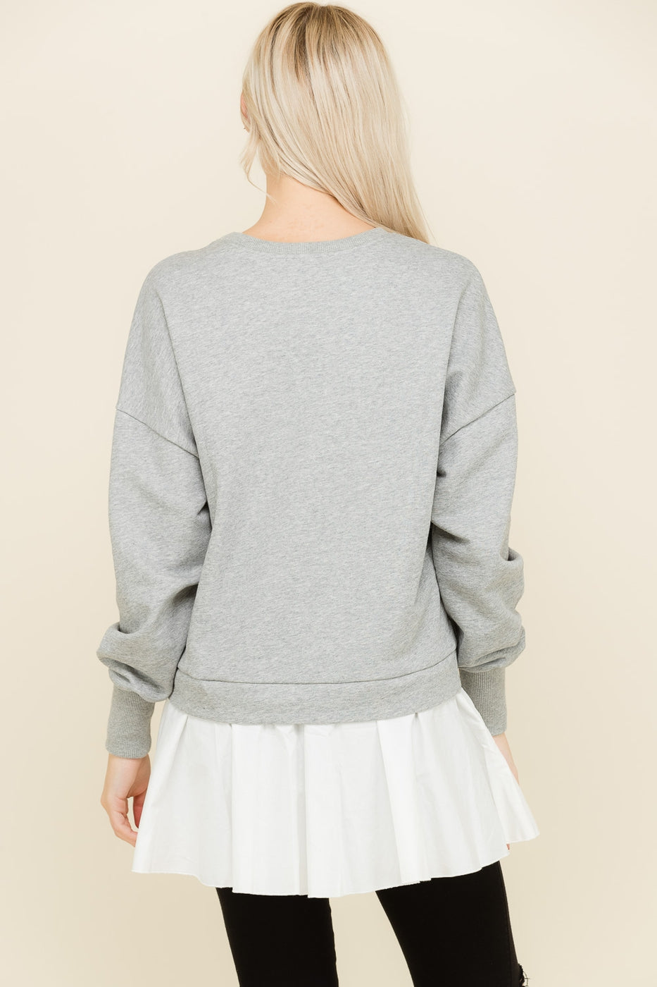 Long Sleeve Sweat Shirts Layered In Grey Siin Bees