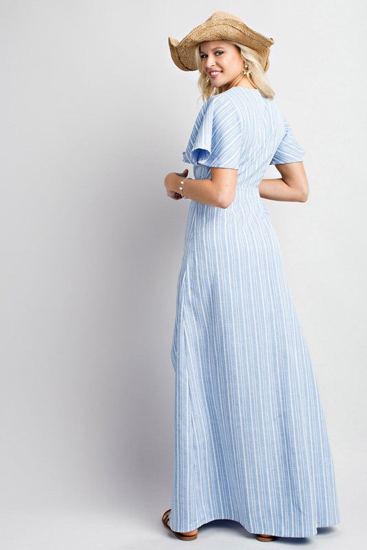 Slit Open Front Stripe Denim Print Half Sleeve Long Dress With Tie Front Accent Siin Bees