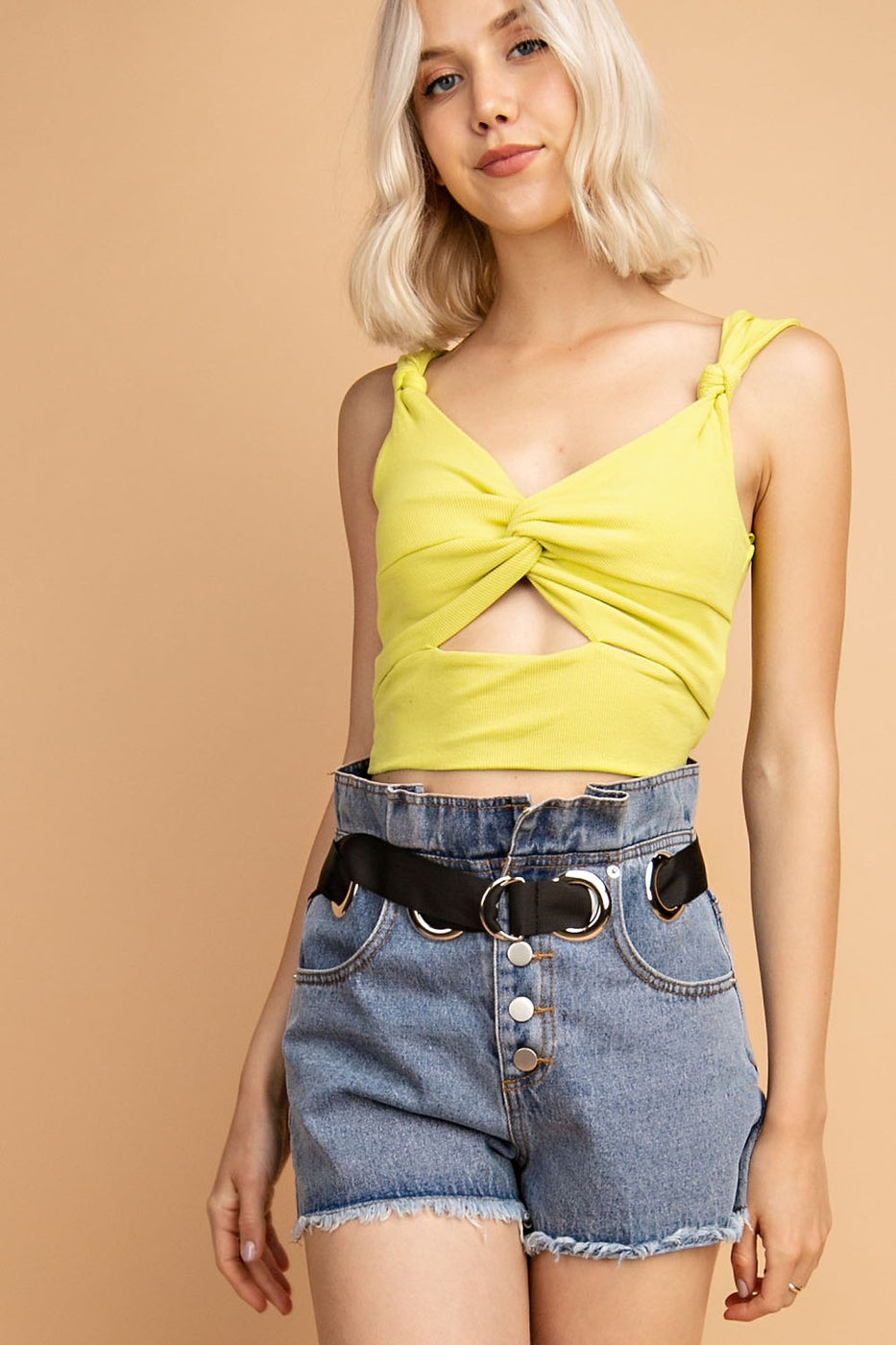Knotted Strap Rib Cropped Top Siin Bees