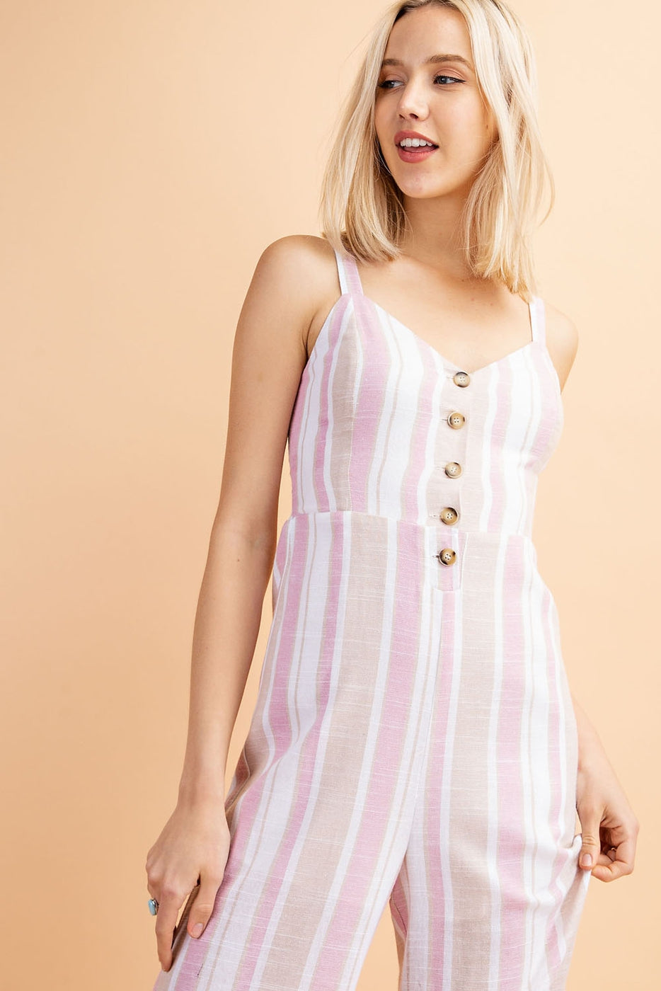 V-Neck Back Tie Stripe Jumpsuit With Front Buttons In White-Rose-Taupe Siin Bees