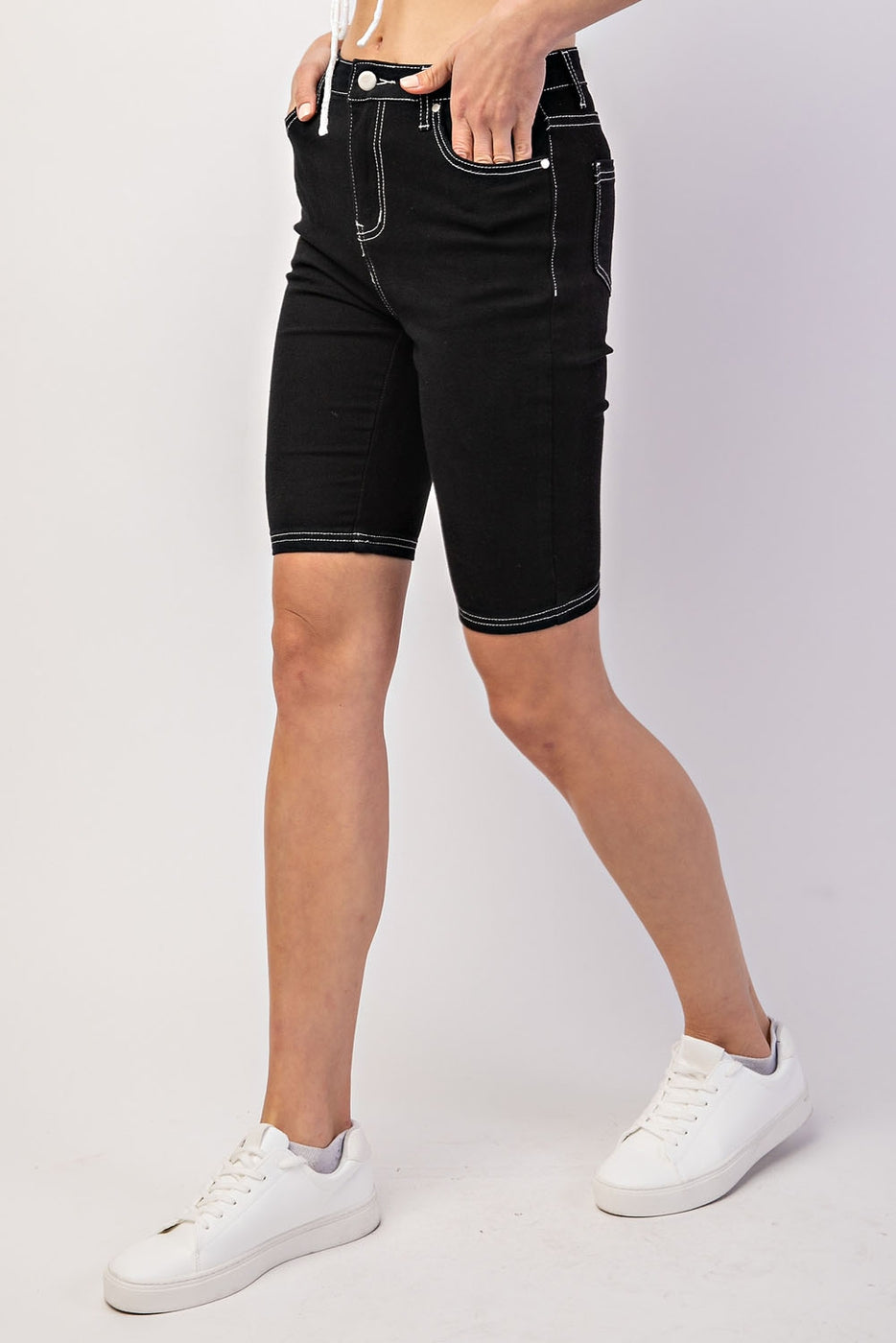 White Contrast Stitch Detail Bike Denim Shorts In Black Siin Bees
