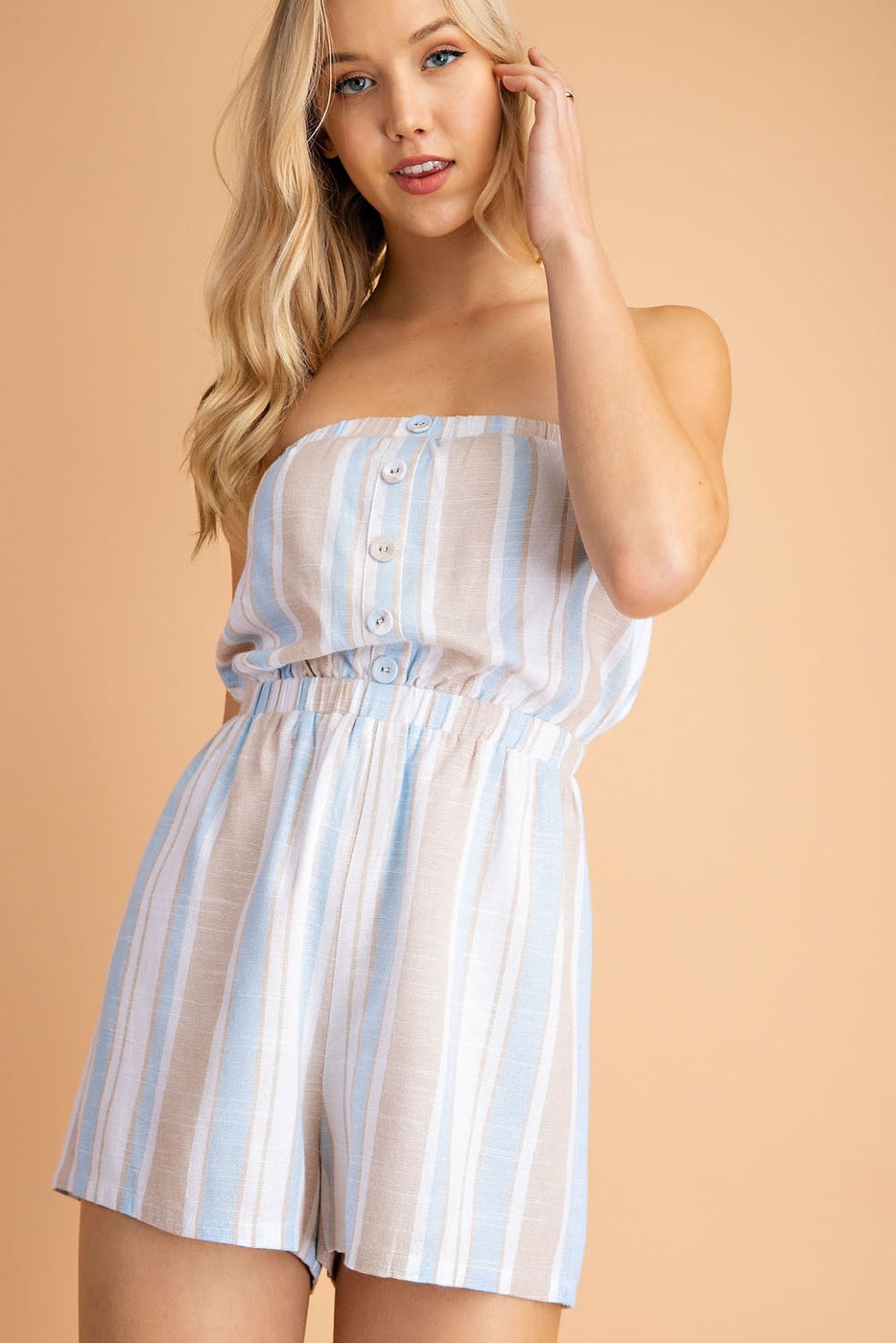 Linen Stripe Button Tube Top Romper soliman-studio.myshopify.com