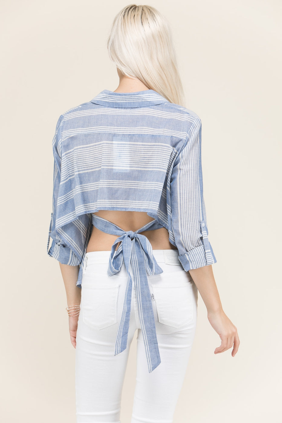 White/Navy Stripe Shirt Top With Open Back Tie Detail Siin Bees