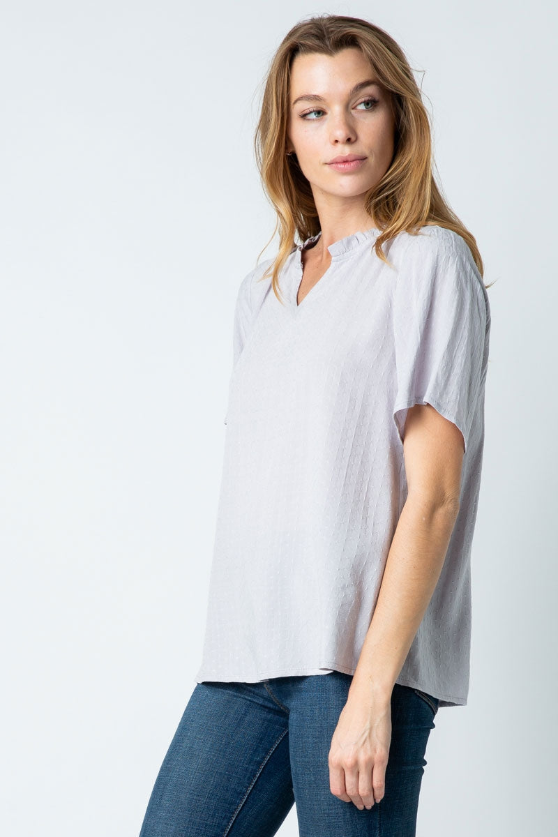 Lavender Short Sleeve Top With Ruffled Adjustable Neckline Siin Bees