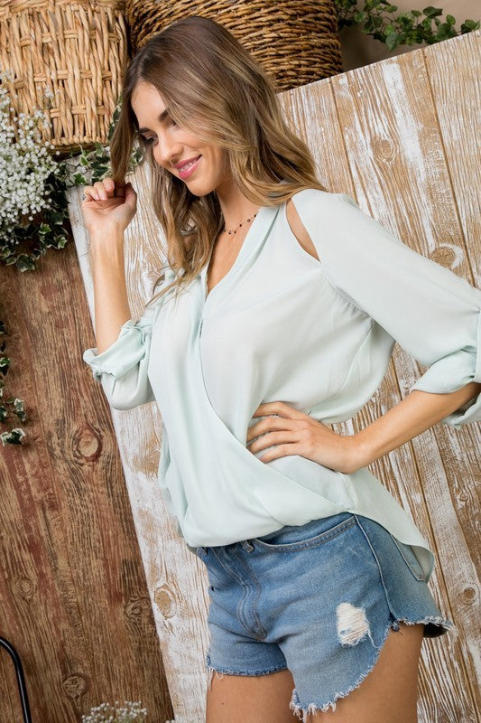 Sage Surplice Keyhole Front Detail with Roll up Sleeve Blouse Siin Bees