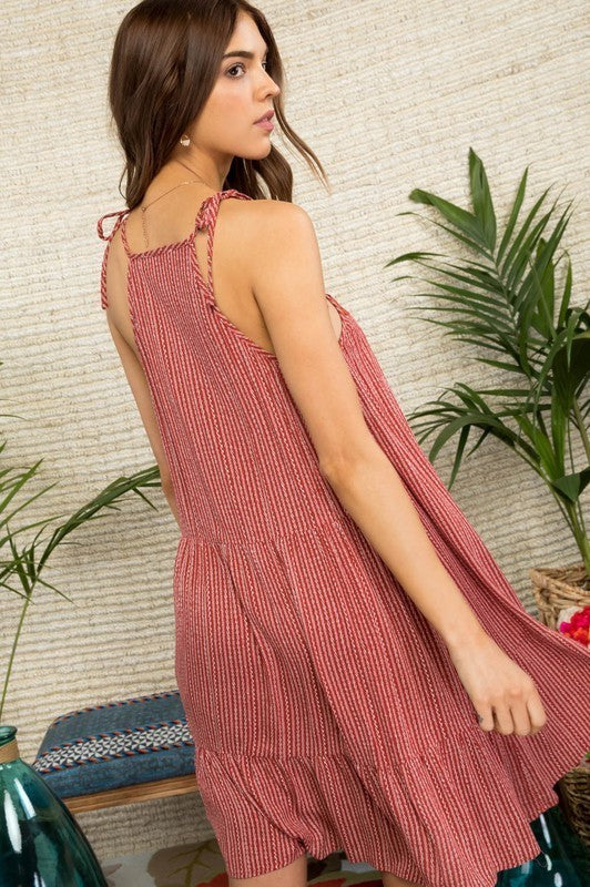 Violet Halter Neck Front Lace Patch Detail Printed Dress Siin Bees