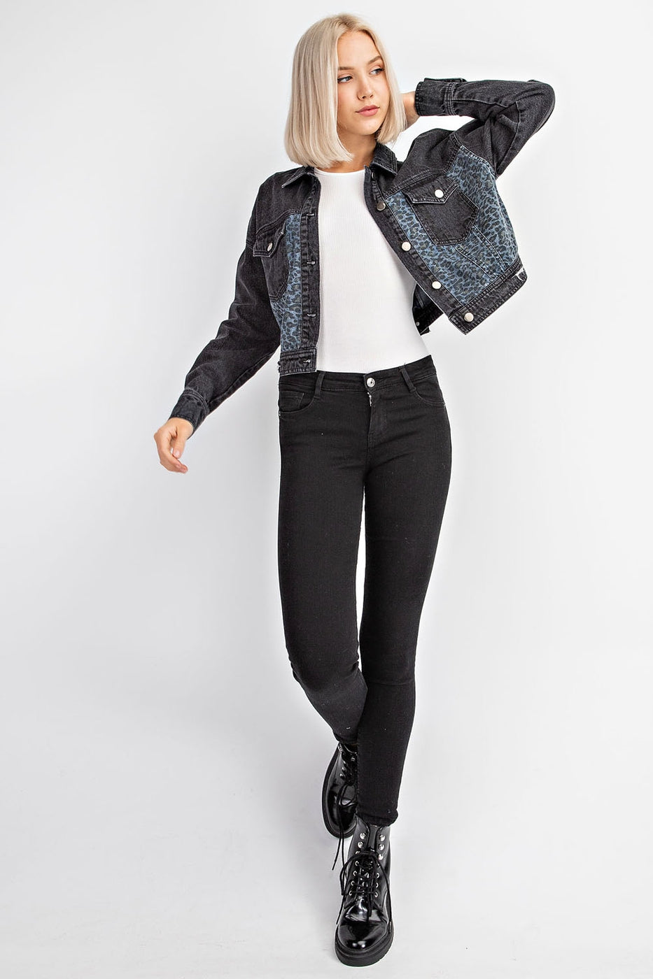 Washed Denim Jacket With Animal Print Contrast In Charcoal Siin Bees