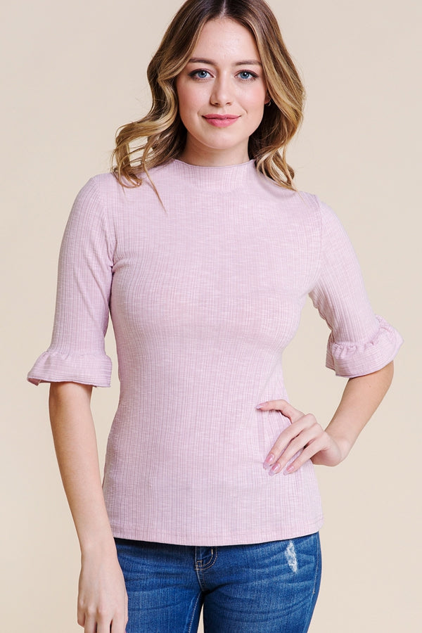 Summer 3/4 Sleeve Top Knit Ruffle In Mauve Siin Bees