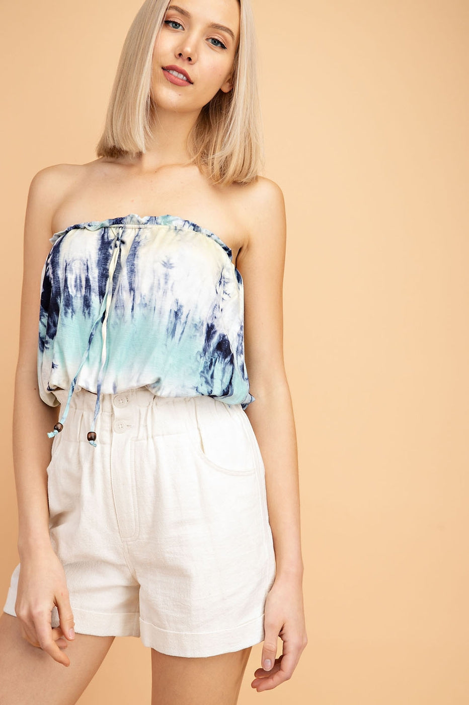 Tie Dye Fabric Tube Top In Mint-Navy-Lime Siin Bees